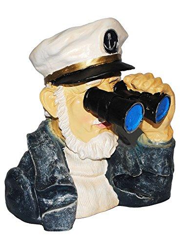 Unbekannt Kapitän / Seefahrer mit Fernglas - als  Spanner am Gartenzaun  - große XL Figur - aus Kunstharz - Maritim - Gartenzwerg / Gartendeko Garten - Nachbar Reisen..