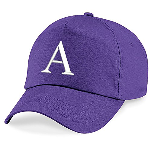 4sold Childrens Embroidery Cotton Summer Sun Hat Children School Kids Caps Hat Sport Alphabet A-Z Boy Girl Adjustable Baseball Cap Purple