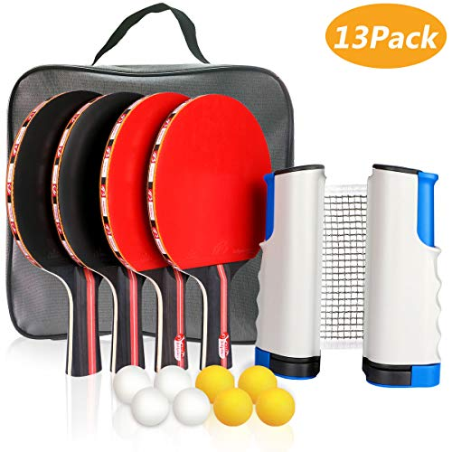 Xddias Raquette de Ping Pong Professionnel Set, 4 Raquette de Tennis de Table + Rétractable Filet de Table Tennis + 8 Balle, Portable Ping-Pong Accessoire pour Les Jeux Professionnels et Récréatifs
