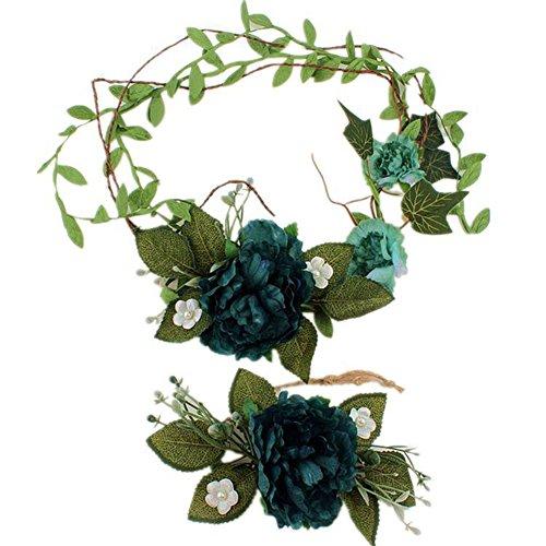 Vikenner fiore fascia da sposa fiore capelli ghirlanda fiore crown pearl carino fiore cinturino regolabile mano polso corpetto, confezione da 1paio (verde scuro) m dark green