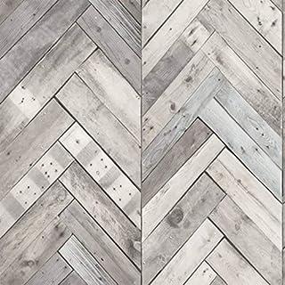 DUTCH WALLCOVERINGS Wallpaper Wood/Herringbone Grey Wall Covering Sheet 7361-1