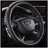 Coprivolante per Auto, A4L A6L A3 A1 A5 Q3 Q5 Audi Coprivolante per Auto in Pelle Dedicato Set Manubrio Nero,Red
