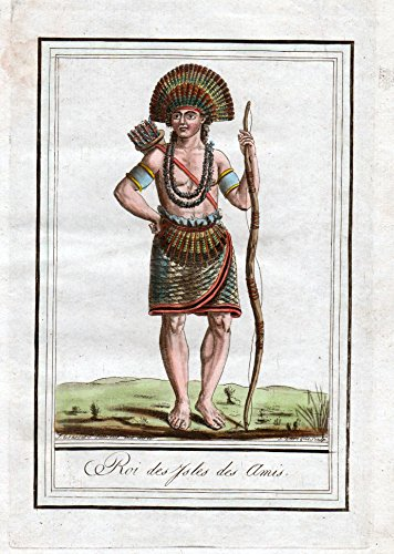Roi des Isles des Amis - Tonga König king Pacific Tracht Trachten costume Kupferstich engraving