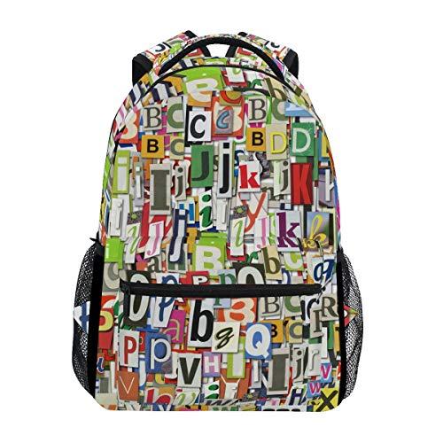 Büchertasche für Teenager Mädchen, Jungen, Digitale Briefe, Collage, Reiserucksack, Umhängetasche, Wandertasche für Damen und Herren ()