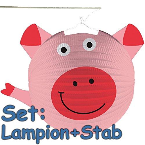 Amscan/Carpeta Set: Lampion + Stab * SÜSSES Schwein * als Deko oder Spiel für Kindergeburtstag, Halloween oder Karneval // Mottoparty Motto Party Laterne Farm Bauerhof Tiere