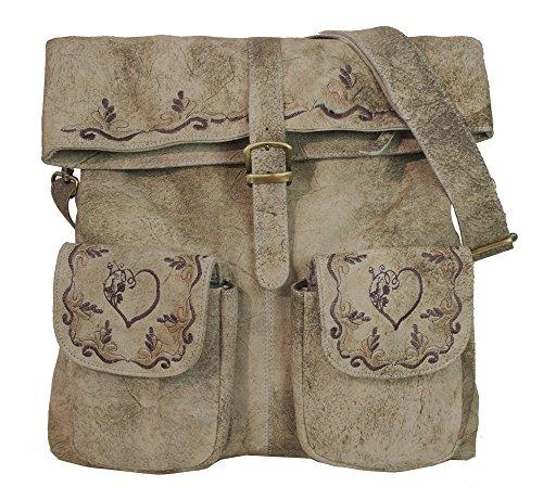 Domelo Damen Tasche große Beige Ledertasche Umhängetasche Dirndltasche Trachtentasche aus weiches Leder mit Herz Design