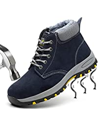 SUADEEX Mujer Hombre Invierno Zapatillas de Seguridad Botas con Puntera de Acero Impermeables Zapatos de Trabajo Ligeras Calzado de Seguridad Entrenador Unisex Zapatillas de Senderismo