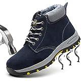 SUADEEX Damen Herren Sicherheitsschuhe Wärme Gefüttert Wasserdicht Arbeitsschuhe Stahlkappe Sicherheitsstiefel Winter Schuhe Knöchelhoch Stiefel Hiking Schuhe Schnittschutzstiefel