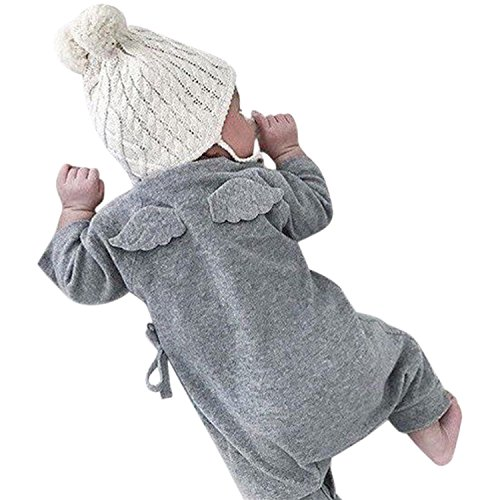 YASSON Baby Schlafstrampler Neugeborene Jungen Mädchen Overall Langarm Baumwolle Strampler Engel Flügel Jumpsuit Kostüm