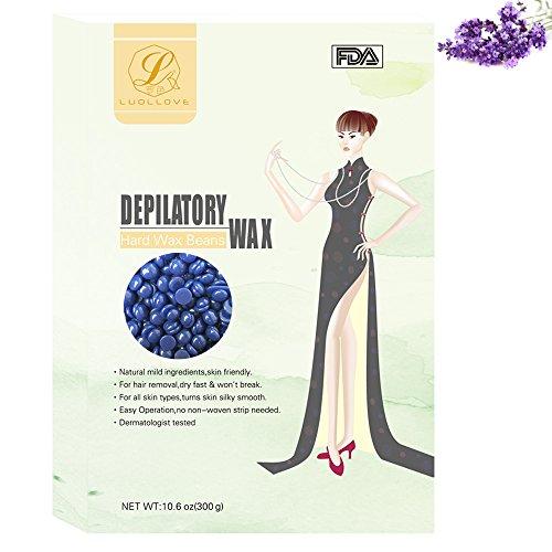 Wax Enthaarung,LuolLove 300g Hard Wax Beans Wachs Haarentfernung Natürlich für Frauen Männer Ganzkörper-Enthaarungs,Einfache Enthaarung und keine Streifen erforderlich (Lavendel)