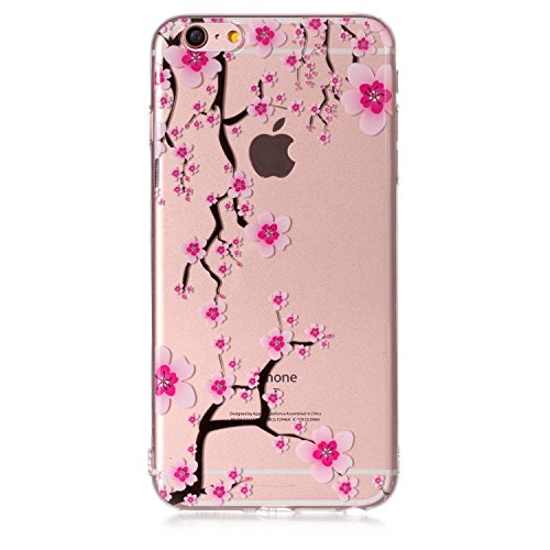 Cover iPhone 6S Plus Spiritsun iPhone 6 Plus Custodia TPU Moda Elegante Case Cover Soft Silicone Back Cover Protezione Bumper Funzione Shell Morbida Flessible TPU Cover Per iPhone 6 Plus / 6S Plus (5. Fiore di prugne