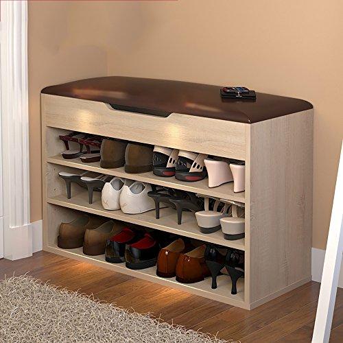 LJHA Tabouret pliable Repose-pieds moderne / chaussure armoire / multifonctions bottes tabouret de rangement / tabouret de canapé (6 couleurs en option) chaise patchwork ( Couleur : Marron clair , taille : A-80*54cm )