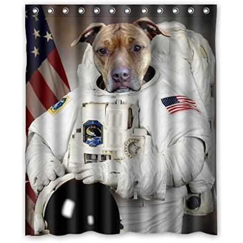 Cute funny Puppy Dog Astronaut flag picture shower curtain 60x72 inch