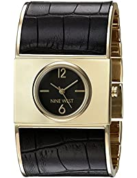 Nine West Women's NW/1926BKBK Gold-Tone And Black Bangle Watch
