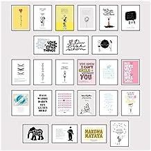 Postkarten Box - Set mit 25 Detailverliebten und Hand designten hochwertigen Postkarten mit liebevollen Zitaten und Sprüchen