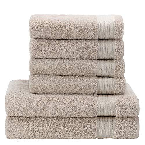 Twinzen ⭐Chemikalien-Frei Handtuch Set (6-Teilig) mit 4 Handtüchern und 2 Badetüchern, 100% Baumwolle - Hotel- und Wellnessqualität - Oeko TEX Std 100 Zertifizierung - Weich und Saugstark