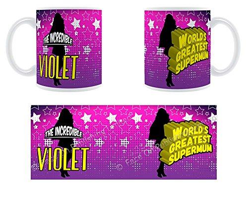 Die unglaubliche Violett-World's Greatest Supermum!-Becher aus Keramik, personalisierbar mit Name