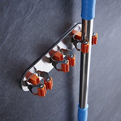 Kes 3m auto adesivo mop e portascope parete monte bastone su appiccicoso garage archiviazione parete organizzatore spazzolato inox acciaio 3 posizione, sbh200s3-2