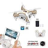 REDPAWZ CX-10WD-TX CX-10WD Mini Drone 2.4G 4CH 6Aixs WIFI FPV Headless Mode Altitude Hold Mode With 0.3MP Camera RC Quadcopter RTF