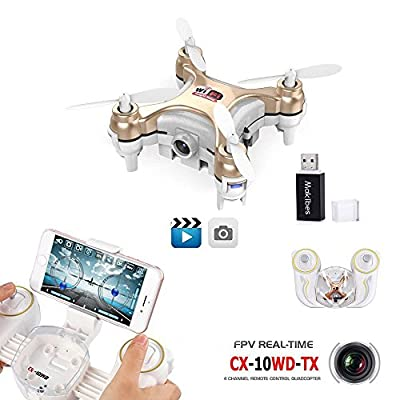 Cheerson CX-10WD CX-10WD MINI WIFI FPV 0.3MP Camera Altitude Hold 2.4G 4CH 6Aixs RC Quadcopter RTF with a Makibes Reader Card