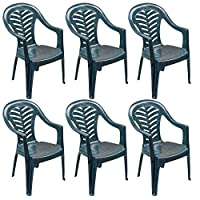 Resol Palma Garden Chair - Pack of 6 Plastic Green