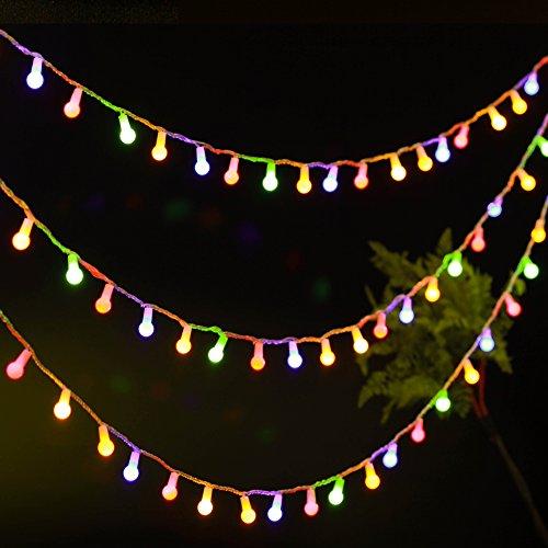 Uping Strisce di Luci LED, Catena Luminosa, Globo, Luce Calda Colorata, Impermeabile, 12 Metri, 100 Singoli LED, Decorativa da Interni e Esterni, anche per Festa, Giardino, Natale, Halloween, Matrimonio