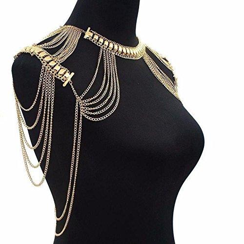 JaneDream Körperkette Partykleid Schmuck Schulter Kette Sexy Bikinikette Ägyptischer Schmuck luxuriös Goldfarbe
