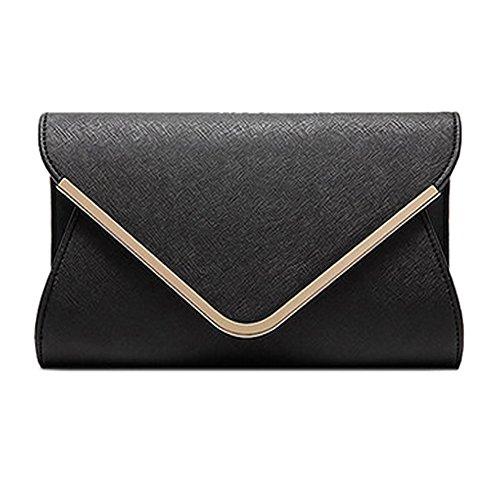 Damen Frostige Handtaschen Umschlag Clutch Bag Hard Case Glossy Sommer Metallic Strap Neon schwarz