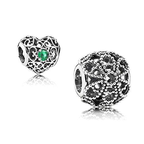 [A] Original Pandora Geschenkset - 1 Silber Charm 791282 Rosen + 1 Silber Charm 791784NRG Mai-Herz