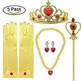 Tacobear 5Stk. Disney Prinzessin Belle Kostüm ZubehörSet inklusive Belle Handschuhe Ohrring Kaiserkrone Zauberstab Halskette Prinzessin Belle Schmuck für Kinder Mädchen