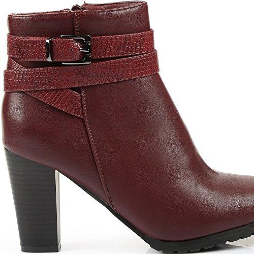 Ideal-Scarpette Shoes a Lama spessa e cinturoni Julya effetto rettile Rosso (rosso)