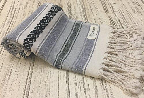 Bersuse 100% Baumwolle - San Jose XL Überwurf Decke Türkisches Handtuch - Mehrzweck Bett- oder Sofa-Überwurf, Tagesdecke, Tischdecke oder als Picknickdecke - Badestrand Fouta Peshtemal - Mexikanisches Design Pestemal - 145 X 235 cm, Anthrazit