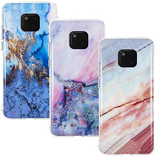 CLM-Tech Hülle 3X kompatibel mit Huawei Mate 20 Pro, TPU Silikon-Hülle Case Schutzhülle Handyhülle 3er Set, Marmor blau Mehrfarbig