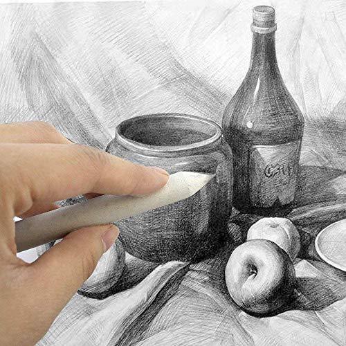 Onwon Paper Blending Stumps and Tortillions Sandpaper Pencil Sharpener Pointer Art Blenders with Kneaded Eraser for Student Sketch Drawing Tools