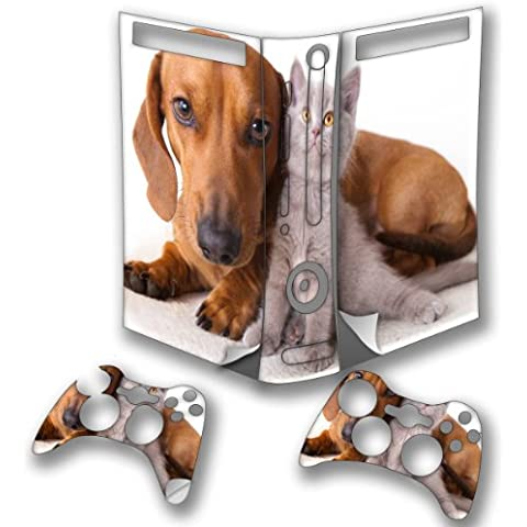 Dogs 10008, Dachshund, Wrap Around Skin Sticker Decal Vinyl Wrap Cover Protector with Leather Effect Laminate and Colorful Design for Xbox 360 Fat Game Console and 2 Controllers., [Importado de Reino Unido]