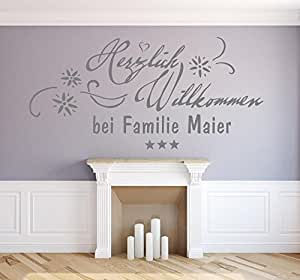 xl wandtattoo mit namen nachname familienname herzlich willkommen bei familie t raufkleber. Black Bedroom Furniture Sets. Home Design Ideas