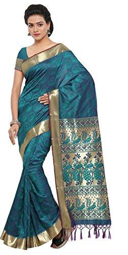 Varkala Silk Sarees Women\'s Art Silk Kanjeevaram Saree with Blouse Piece (AWJP8116RMV_Teal Blue_Freesize)