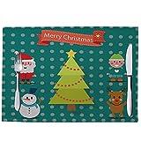 ZCHPDD Weihnachtskarikatur Gedruckte Baumwollmattenuntersetzer Westmatte C 45 * 30Cm * 8Pcs