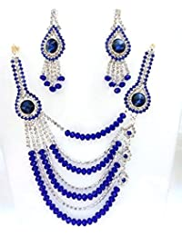 Shafiqua Traditional Antique Style Blue And White Multi Strand Necklace With Drop Earring For Women And Girls