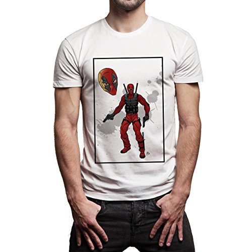 Deadpool Red Film Background Herren T-Shirt Weiß