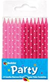 24 x Pink Polka Dots Straight Birthday Cake Candles