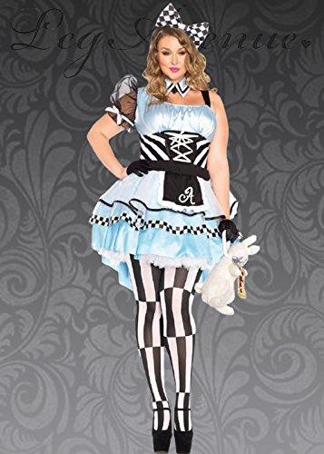 8in1 Plus Size Damen Wunderland Psychadelic Alice Kostüm 1X/2X (UK 18-20)