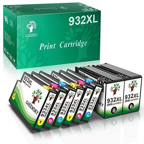 GREENSKY 932XL 933XL Cartuccia d'inchiostro, Compatibile HP 932 933 932XL 933XL Cartucce, Nero Ciano Magenta Giallo, Volume di inchiostro XL, per HP OfficeJet 6600 6700 7110 6100 7610 7612(pack da 8)