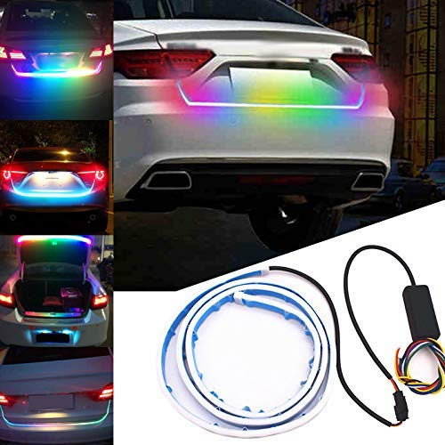Mialian Leuchten DRL Licht Heck Lenkrad für Spielturm Piratenlenkrad Lenker LED, Blinker Dynamic Kofferraum Fließend Bunte Kofferraummatte Fahrzeug- Kofferraum LED - 120 Spannung Licht
