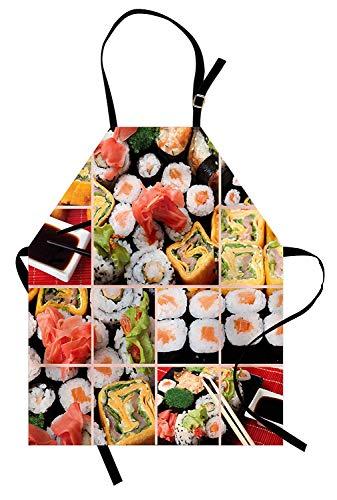 (Japanische Schürze, Küche Asiatisches Sushi Fisch Rohes Fleisch Rolls South East Fast Food Zeremonie Artwork, Unisex-Küchenschürze mit verstellbarem Hals zum Kochen Backen Gartenarbeit, Multicolor)