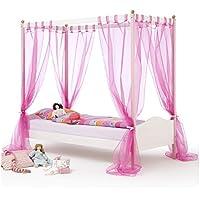 Himmelbett Kinderbett Mädchenbett ISABELLA, 90x200 cm Kiefer massiv weiß/rosa lackiert