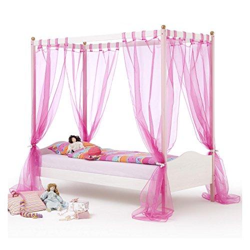 *Himmelbett Kinderbett Mädchenbett ISABELLA, 90×200 cm Kiefer massiv weiß/rosa lackiert*