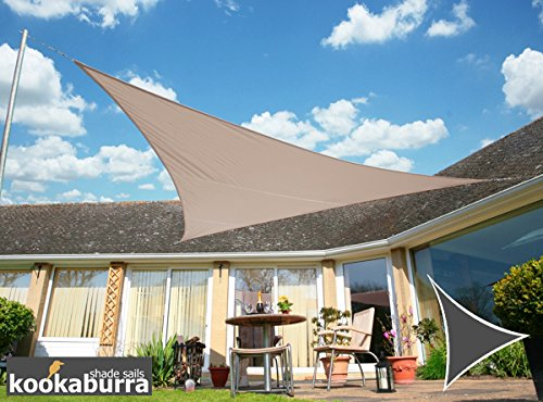 Kookaburra Voile d'Ombrage Imperméable 5,0m Triangle Taupe