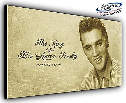 Elvis Presley King panoramique Salon Chambre mur Art Impression sur toile entièrement encadrée–Image Imprimé sur Toile–Art Impression sur toile–Art Images–choisissez votre taille, 55 x 24 inch