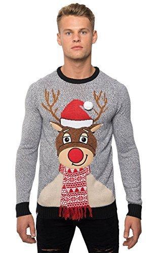 Hombre Navidad 3d NOVEDAD punto jersey de Navidad Jersey Cárdigan - Gris, X-Large